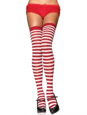 Nylon Thigh Highs With Stripe