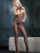 Fishnet Halter Bodystocking Open Cup