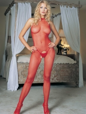 Fishnet Halter Bodystocking rood